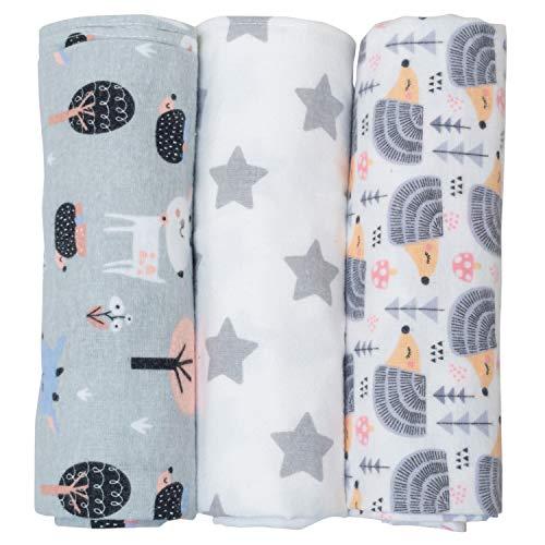 Muselina para bebé de Cangoo: pequeña funda, de flanela, 100% algodón, paquete de 3 piezas, formato 120 x 120, ideal para toalla, funda de cama, silla de ruedas y funda de cuna, suave y transpirable.