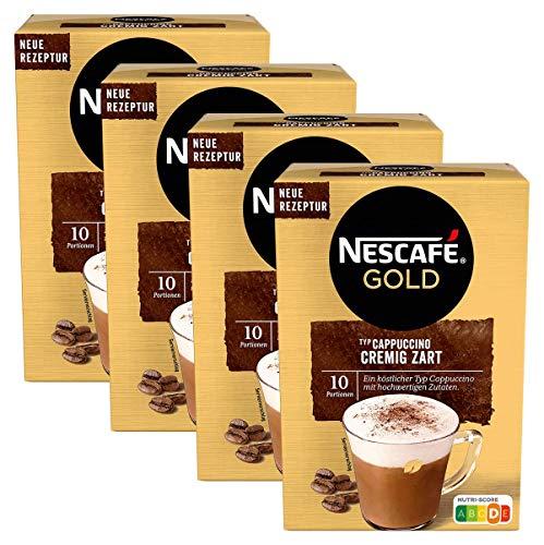 NESCAFÉ Gold Typ Cappuccino Cremig Zart, Getränkepulver aus löslichem Bohnenkaffee, koffeinhaltig, 4 x 140g (à 10 x 14 g Sticks)
