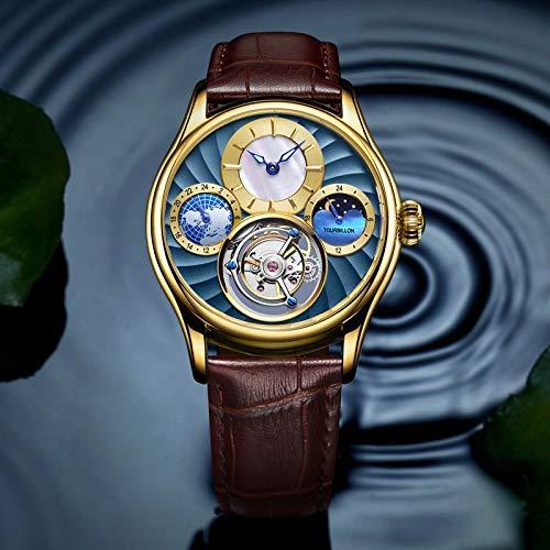 FENKOO Luxus Tourbillon Uhren, Herrenmode Gürtel manuelle mechanische Uhren Tourbillon-Uhren wasserdicht Multifunktions-Tisch (Farbe : 10)
