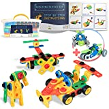 SMART WALLABY 101 pc. STEM Building Toy Set for Boys & Girls Ages 3-7 + 52 pc. Bonus Gift |Bolts & Nuts Construction Building Blocks Toy Set for Fun Educational & Creative Growth