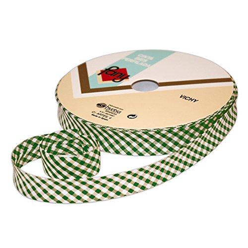 Galerías Madrid Cinta Al Bies Royo de 25 metros y 17 mm de ancho Vichy/Cinta para Vivos/Cinta para Ribetados/Cinta en Sesgo/Cinta para Reforzar Bordes, Color: Verde