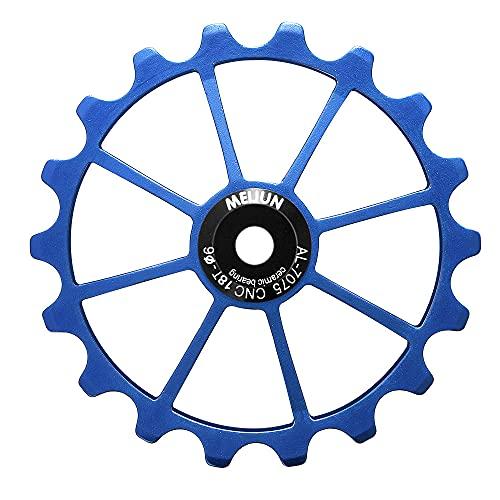 WLDOCA Rueda de Jockey de Cambio Trasero de Bicicleta MTB de 18T, polea de rodamiento de cerámica de aleación de Aluminio, Rodillo de guía de Bicicleta de Carretera para Eje de 4/5 / 6mm,Azul