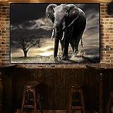 wZUN Elefante Africano Negro árbol Vida Silvestre Puesta de Sol Lienzo Pintura Carteles e Impresiones Moderno Cuadro de Arte de Pared Sala de Estar 50x70cm