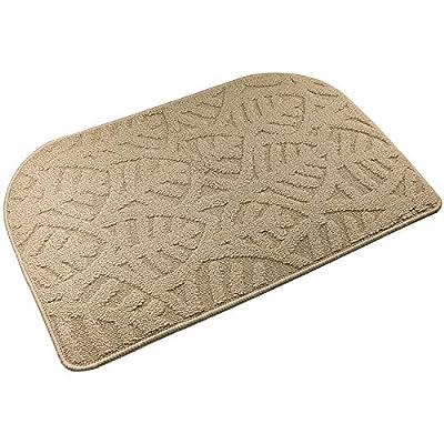 """TOONOW Indoor Doormat Front Door Mat,30""""x18"""", Low-Profile Machine Washable Kitchen Rug, Absorbent Mud Half Round Entrance Mat for Outdoors, Bathroom, Patio, Bedroom, Beige"""