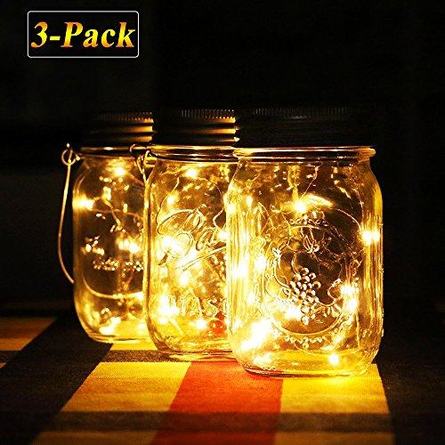Solar Mason Jar Lichter, warm Jar Fairy Lampe mit wasserdicht Mason Jar Deckel, outdoor Dekorative Laterne Beleuchtung für Garten Terrasse Weg Baum Urlaub Hochzeit Party Deco (Warmweiß-3pcs)