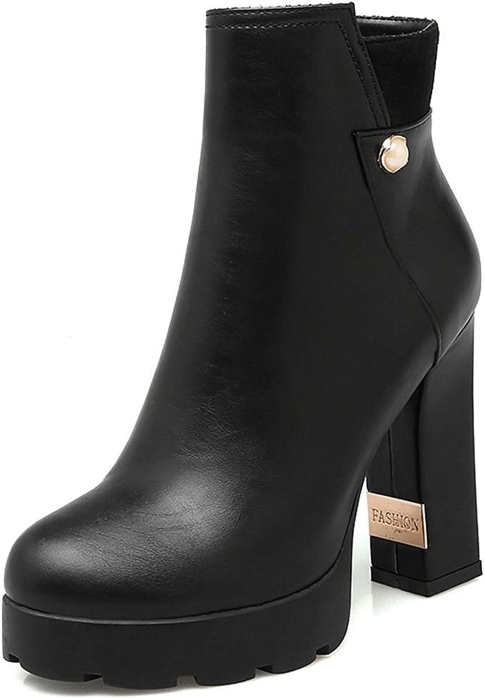SaraIris Women's Round Toe Chunky High Heels Platform Zipper Mental Winter Warm Ankle Boots