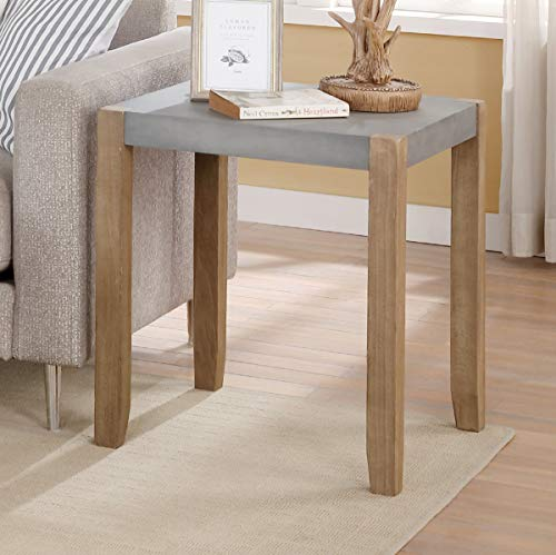 Newport 21' Square Faux Concrete and Wood End Table
