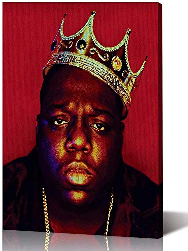 YuFeng Art Inn Music Style Poster Biggie Smalls Crown American Hip-hop Musician Rapper Canvas Poster Red Background Wall Decoration Painting (Unframed-No Framed,24x36inch)