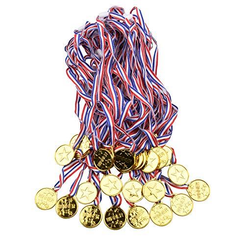 Onepine 48 Stücke Medaillen Kindergeburtstag Kunststoff Gold Medaillen für Kinder Sport Party, Spiel Medaillen (48 Stücke)