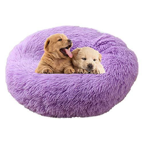 Gaowenhappy Cama Perro Camas para Perros Grandes Pequeño Gato Cama Caliente Cama del Perro Esponjoso Gato Cama Camas para Perros Camas para Gatos Perro sofá Cama Purple,50cm/19.69in