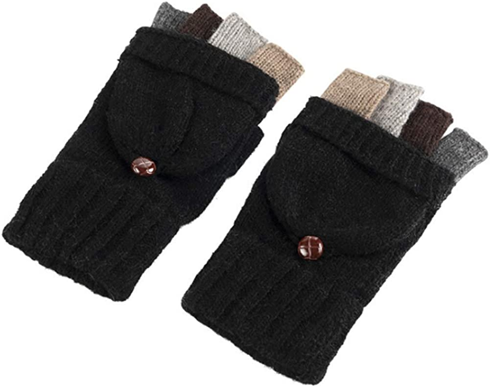 Tiamu Winter Warm Knitted Fingerless Gloves Convertible Wool Gloves with Mittens Cover