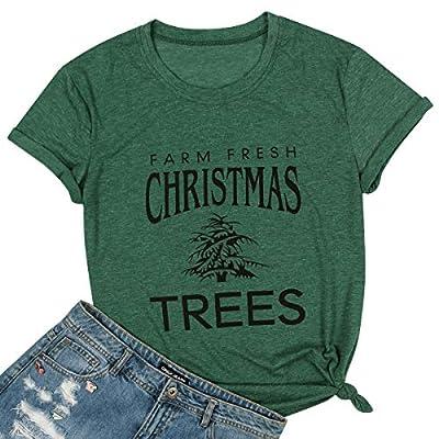 Farm Fresh Christmas Trees Shirt Women Christmas Holiday Short Sleeve Letter Print Tee Top