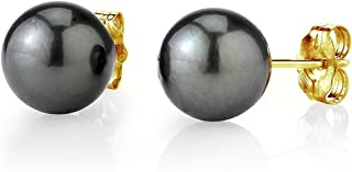 THE PEARL SOURCE 14K Gold 11-12mm Round Tahitian South Sea Cultured Pearl Stud Earrings for Women
