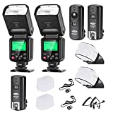 Neewer 750II i-TTL Flash Speedlite Kit para Cámara Nikon DSLR, 2 Neewer 750II Flash, 2.4G Gatillo...