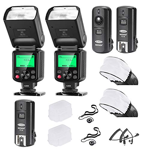 Neewer 750II i-TTL Flash Speedlite Kit para Cámara Nikon DSLR, 2 Neewer 750II Flash, 2.4G...