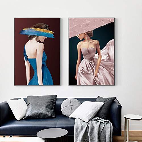 Gymqian Pintura de Mujer Modelo de Vestido de Moda Carteles e Impresiones Imágenes artísticas de Pared Sala de Estar Moderna Dormitorio Decoración del hogar Mural-60x90cm 2pcs Sin Marco