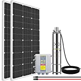 ECO HOUSE 200W Solar Well Pump Kit, 140W 3'' Deep Well Pump+ 2pcs 100W Solar Panels + MPPT Pump Controller for Livestock/Off-grid Living/Irrigation