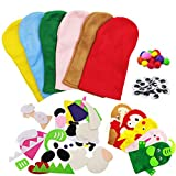 Animal Hand Puppet Kit, Felt Sock Puppet Sewing Craft Kit, for Kids DIY Art Craft Supplies (6 Packs)