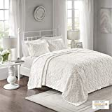 Madison Park Sabrina Tufted Chenille 100% Cotton Quilt, Floral Shabby Chic Cozy All Season Bedspread Bed Set with Matching Shams, Oversized Full/Queen(102'x118'), Medallion White 3 Piece