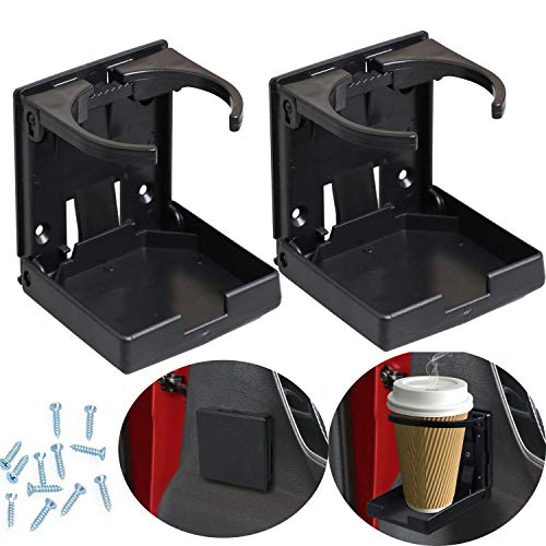 WedFeir 2PCS Adjustable Folding Drink Holder with Screws and Tapes, Folding Automotive Cup Holders for Car Truck Boat Van. (Black)