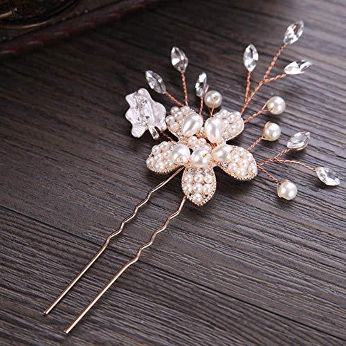 1PCS handgemachte Strass Hochzeit Haarschmuck Blumen Perle Brauthaar Schmuck Anstecknadeln für die Braut, 1 PCS Rose Gold Colo