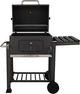 Sahare Steel Smoker Grill with 1 Rack Side and Wheels, black, large, KKLT002