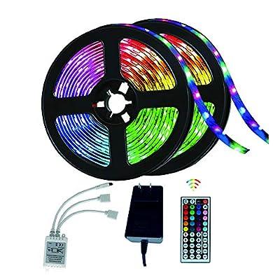 KINOLA Led Strip Lights 32.8ft with 44 Keys Ir Remote and 12V Power Supply Flexible Color Changing 5050 RGB 300 LEDs Light Strips Kit for Home, Bedroom, Kitchen, DIY Decoration