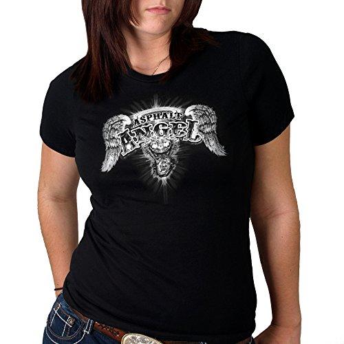 Hot Leathers - GLD1040 Black, M Asphalt Angel Ladies Short Sleeve Biker Tee (Black, Medium)