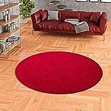 Snapstyle Luna - Alfombra Pelo Corto Redonda - Velour - Rojo - 4 tamaños