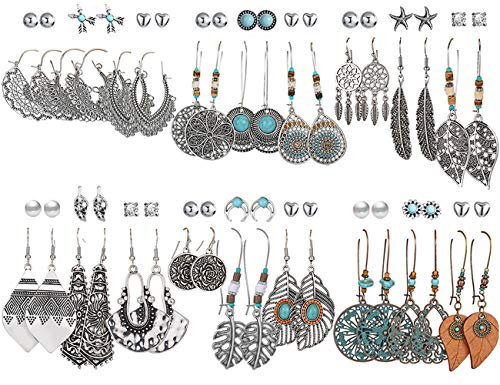36 Pairs Fashion Vintage Drop Dangle Earrings Set for Women Girls Bohemian Silver Bronze Earrings with Hollow Leaf Waterdrop Turquoise Inlay Jewelry for Birthday/Party/Christmas Gifts