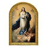 Cuadro Virgen Maria Inmaculada de la Concepcion del Pintor Español Esteban Murillo Madera tabla 28x18,5x1, litografia tratada con pasta relieve.