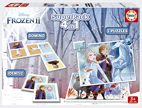Educa- Superpack Frozen 2 Pack de Domino, Identic y 2 Puzzles, Juego de Mesa, Multicolor (18378)