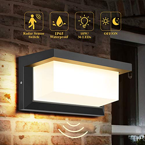 DECMAY lámpara de pared LED para exteriores, iluminación exterior de 18 vatios IP65, luz de control de inducción de radar cuadrada a prueba de agua para patio, balcón, taller de garaje (Blanco cálido)