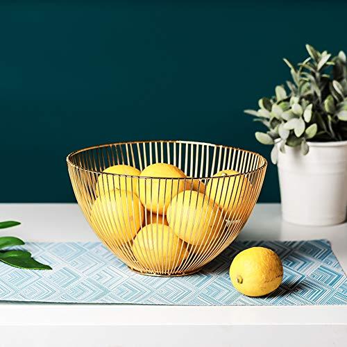KICCOLY Obstschale Metall - dekorativer Obstkorb Vintage - Obst Aufbewahrung für mehr Vitamine in Ihrem Alltag - Obstschale Metall für mehr Platz auf der Arbeitsplatte (Golden)