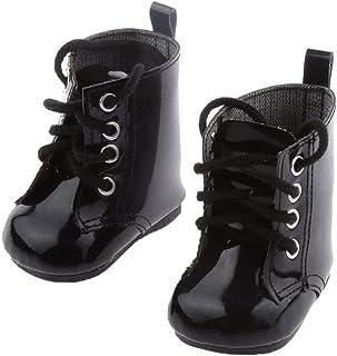 rongweiwang 1 par dockskor PU-läder dockskor läder Martin-stövlar passar för 45 cm docktillbehör svart