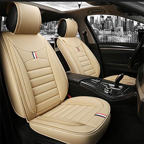 MKJYDM Funda de asiento de automóvil protector de asiento de airbag compatible con cuatro estaciones almohadilla asiento delantero y trasero a prueba de agua Juego completo de cuero universal de 5 asi
