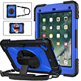 BMOUO iPad 6th Generation Case,iPad 5th Generation Case,iPad 9.7 Case,iPad Air 2 Case,3 Layer Shockproof [360 Swivel Stand][Hand Strap][Pencil Holder] Kids Case for iPad 9.7 inch 2018/2017,Deep Blue