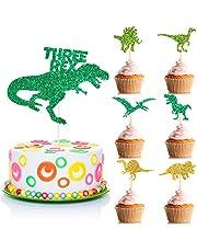 49 قطعة من أغطية الكب كيك ديناصور مجموعة دينو ثلاثة ريكس كعكة أعلى اللقطات بريق عيد الميلاد الثالث لتزيين الكب كيك للبنين والبنات دش الطفل