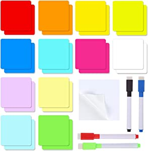Dry Erase Sticky Notes, 24PCS 3 x 3 Inch Reusable Whiteboard Stickers with 12 Colors, 4 Pieces Erasable Markers with Erasers, Suitable for All Smooth Surface, Home Office Classroom