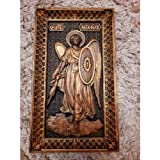 Saint Michael the Archangel Wood Carved Religious Icon Christian Gifts Wedding Anniversary gifts housewarming gifts Wall Hanging Art Work