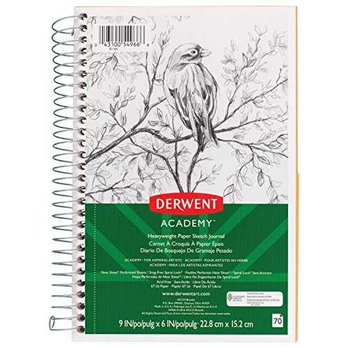 Derwent Academy Paper Sketch Journal, Wirebound, 70 Sheets, 9