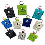 Halsbandtasche aus Wollfilz für Hundemarke, Steuermarke, Tassomarke, Einkauschip, Tile Chip und AirTag von Apple