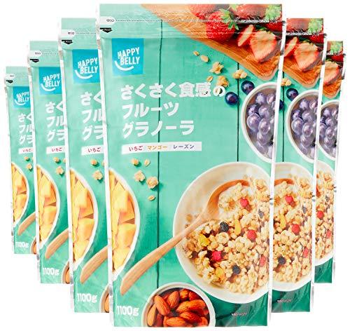 スマートマットライト [Amazonブランド]Happy Belly さくさく食感のフルーツグラノーラ 1100g×6袋 (大容量サイズ)