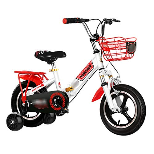Children Bicycle Boys And Girls On Bicycles Indoor Exercise Bike Shock-Absorbing Foldable Bicycle Gifts For 12/14/16/18 Inches 3-18 Years Old (With Flashing Wheel) ( Color : Red , Size : 18inch )