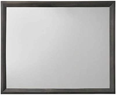 Benjara Rectangular Grained Wooden Frame Dresser Top Mirror, Gray and Silver