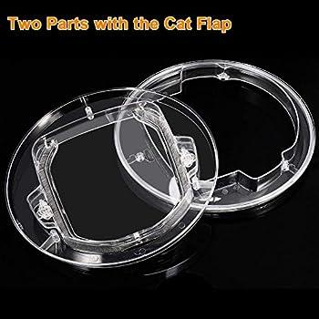 Porte de chien porte de fenêtre porte ronde à rabat clair avec 4 façons Lock & Liner Kit pour chat chiot Doggie meilleur s'adapte pour la fenêtre de l'écran, porte en verre coulissante, fenêtre en ver