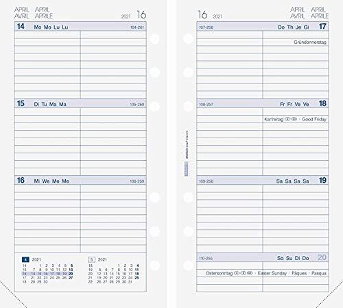 BRUNNEN 1074903001 Wochenkalendarium, Zeitplansysteme, 2021, 2 Seiten = 1 Woche, Blattgröße 9,3 x 17,2 cm