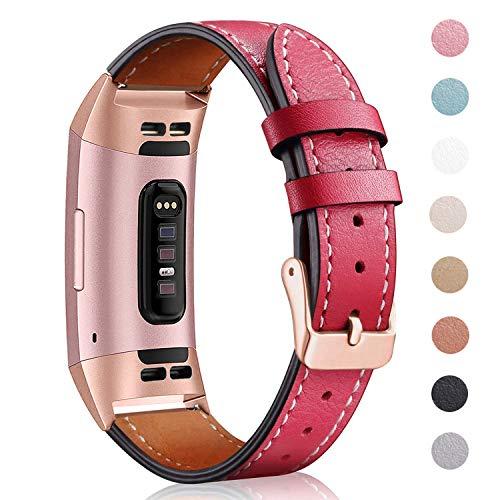 Mornex-Band kompatibel Fitbit Charge 3 Strap/Charge 3 SE Lederband, klassisch verstellbares Ersatz-Armband Fitness Zubehör Metallverbinder, Damen, 18.Royal Gold-Red, 5.5\'\'-8.1\'\'