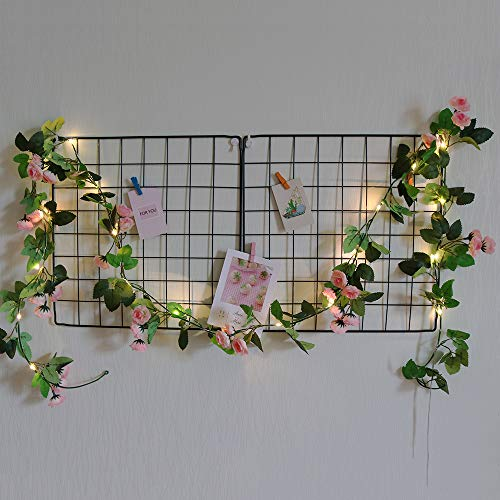 GUOCHENG Novelty 2M 20LED Flower Fairy Lights Artificial Rose Ivy Garland Copper String Lights for Christmas Wedding Bouquets Centerpieces Arrangements Party Home Decorations-Pink