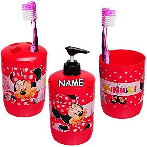 alles-meine.de GmbH 3 TLG. Badeset & Zahnputzset _ Disney - Minnie Mouse - inkl. Name - Seifenspender + Zahnputzbecher + Zahnbürstenhalter - für Zahnbürste - Kinder Baby - Kinder..